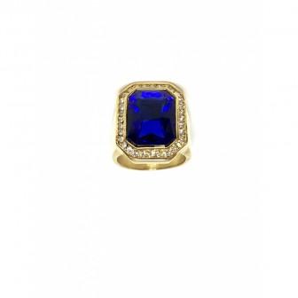 Bague acier chevalière diamond bleu BA087-2