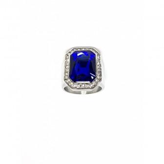 Bague acier chevalière diamond bleu BA087-1