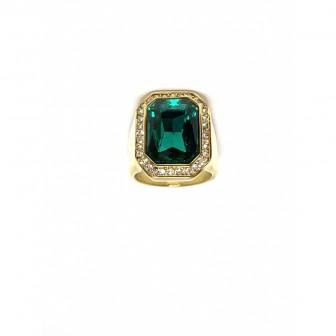 Bague acier chevalière diamond vert BA086-2