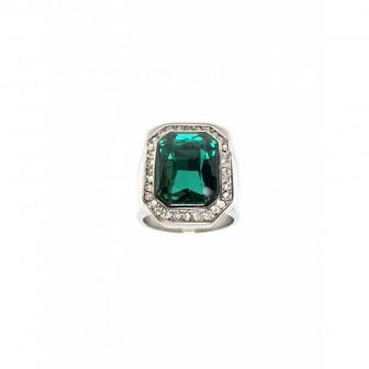 Bague acier chevalière diamond vert BA086-1