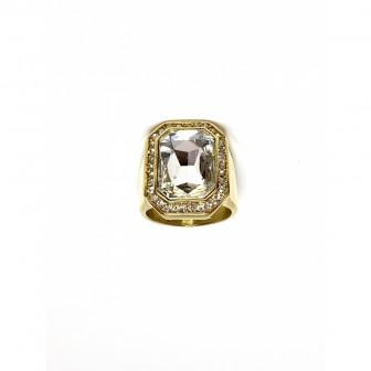 Bague acier chevalière diamond blanc BA085-2