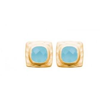 Boucle d'oreilles plaqué-or 750/000 3 microns Agate bleue 2583060