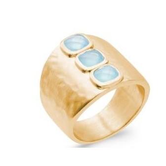 Bague plaqué-or 750/000 5 microns et sa pierre Agate bleue 2903260