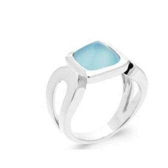 Bague argent rhodié 925/000 Agate bleue 1299160
