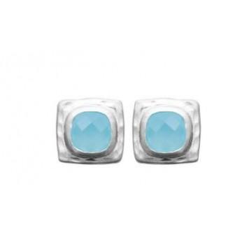 Boucles d'oreilles argent rhodié 925/000 et son Agathe bleue 1583060