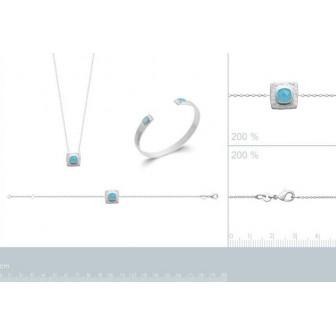 Bracelet argent rhodié 925/000 et son Agathe bleue 87339418