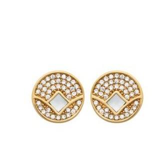 Boucles d'oreilles plaqué-or 3 microns 750/000 Nacre et oz 2584704