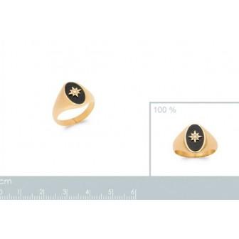 Bague plaqué-or 5 microns 750/000 et pierre Agate noire 2906007