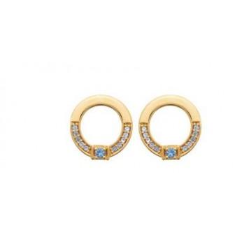 Boucles d'oreilles plaqué-or 3 microns 750/000 et pierres synthétiques 2585460