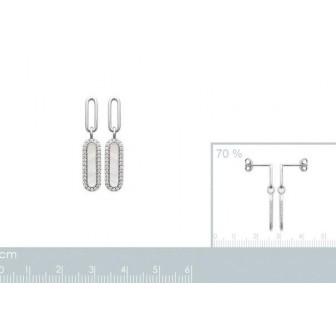 Boucles d'oreilles argent rhodié 925/000 Nacre et oz 1586604